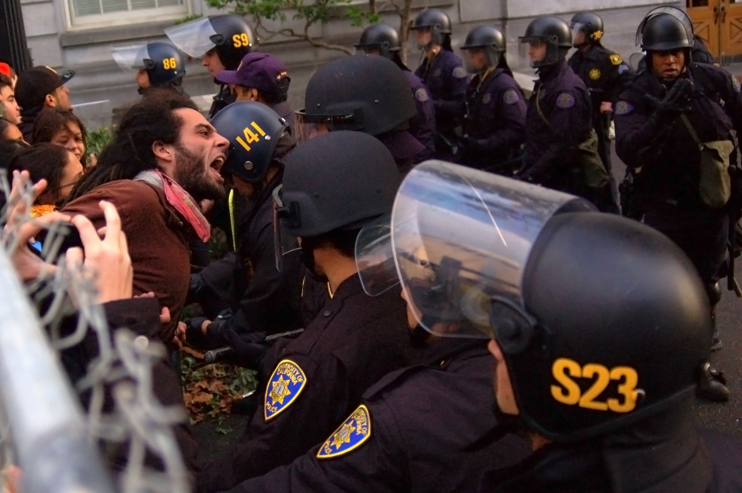 Protesters at UC Berkeley clash with police on November 20, 2009.